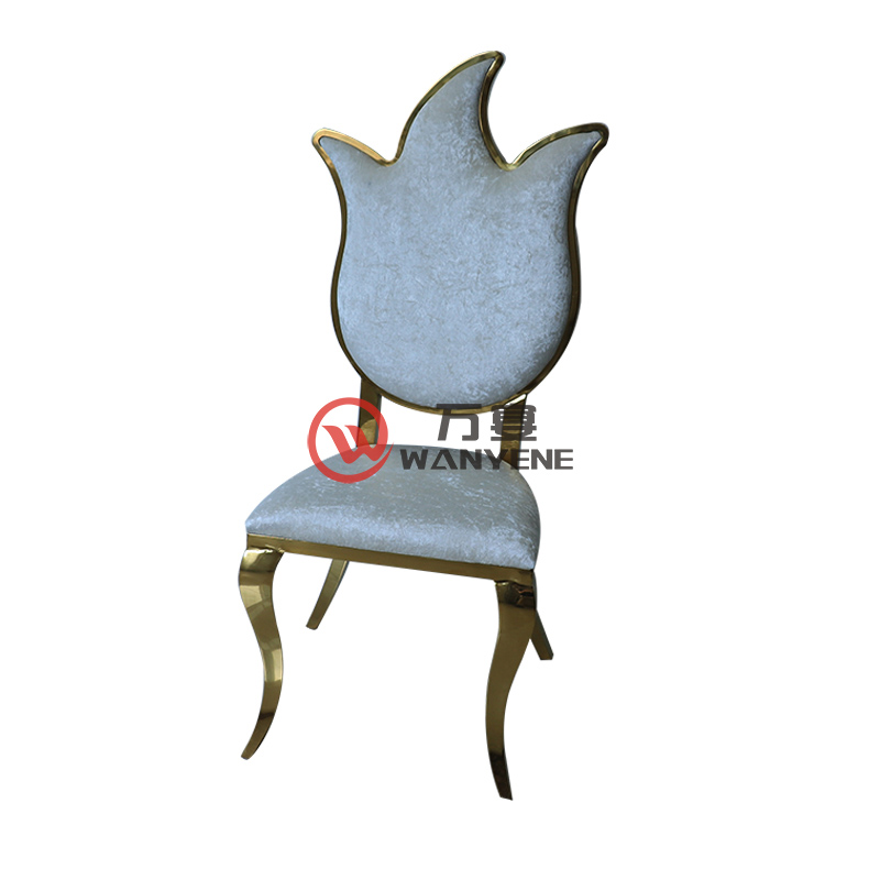 High-end stainless steel stainless chair torch backrest dining chair white flannel upholstery restaurant music restaurant golden hardware chair