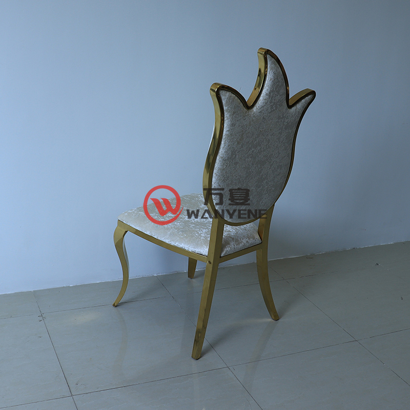 High-end stainless steel stainless chair torch backrest dining chair white flannel upholstery restaurant music restaurant golden hardware chair --The Product Image' style=