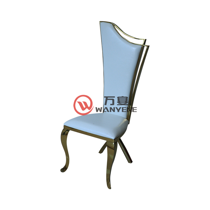 High-end gold stainless steel dining chair Music restaurant dining chair White leather soft upholstery Custom gold stainless steel chair