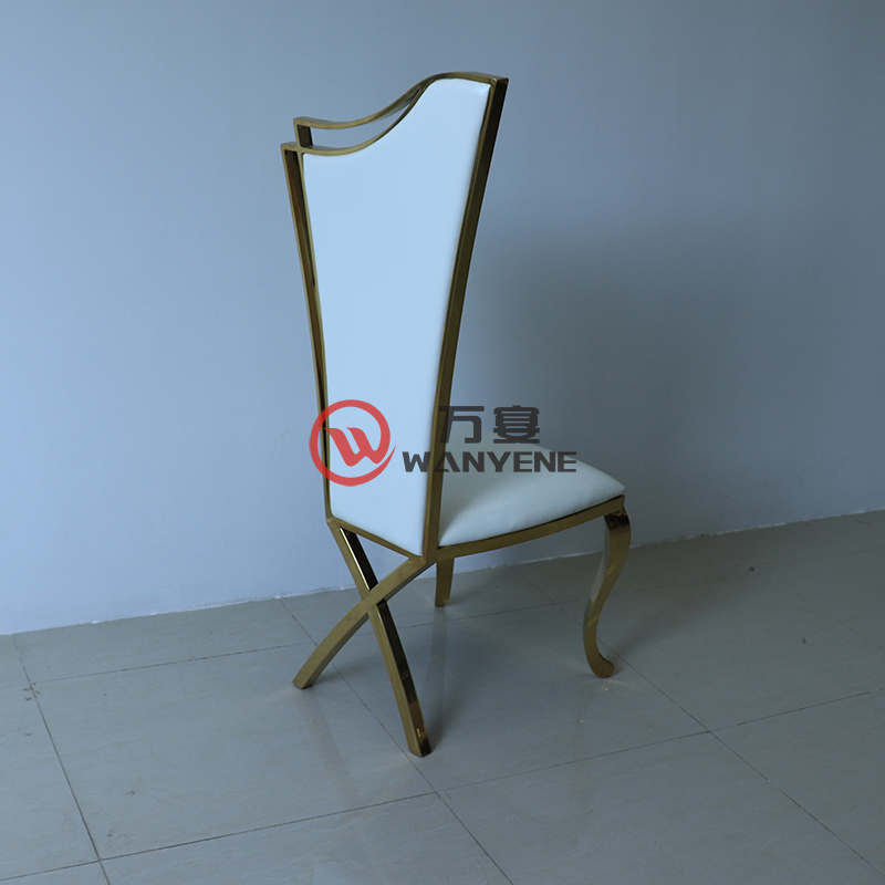 High-end gold stainless steel dining chair Music restaurant dining chair White leather soft upholstery Custom gold stainless steel chair --The Product Image' style=
