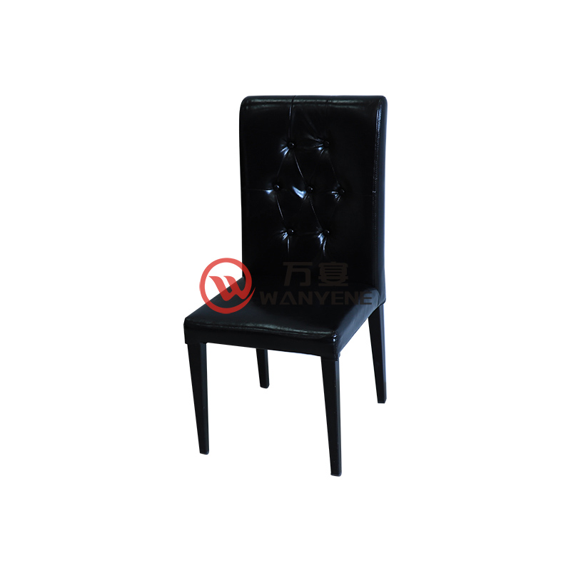 Black hardware dining chair leather seat cushion buckle backrest hotel dining chair coffee shop chair