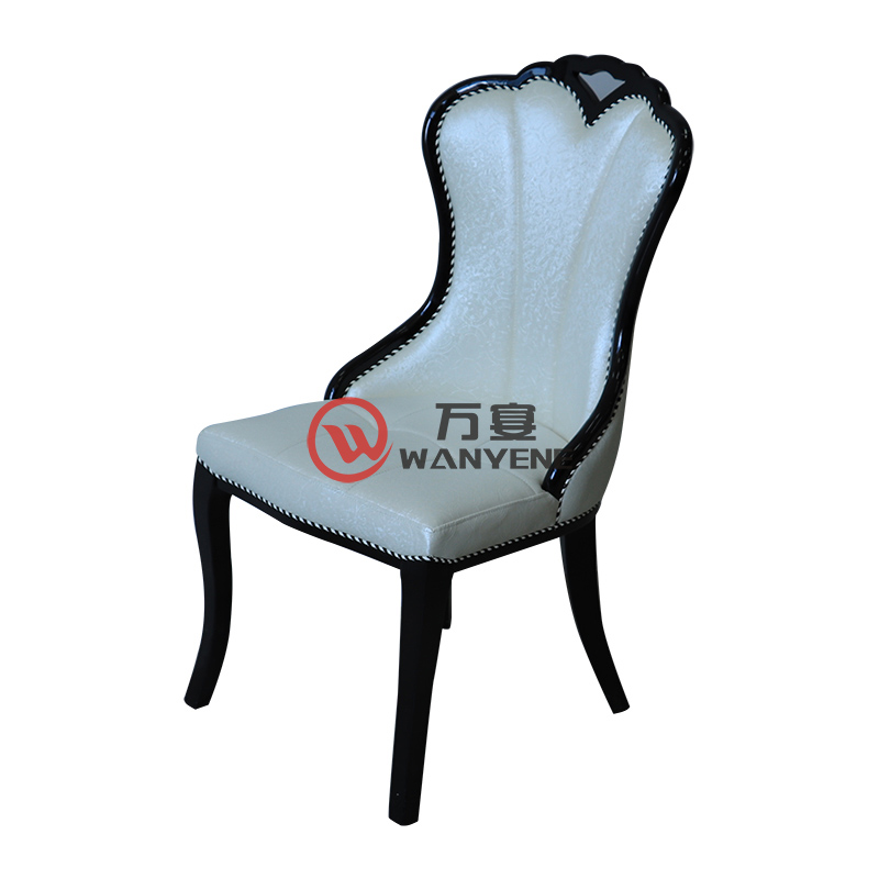 High-end fan-shaped dining chair with curved armrests Portable backrest White leather chair Hotel dining chair