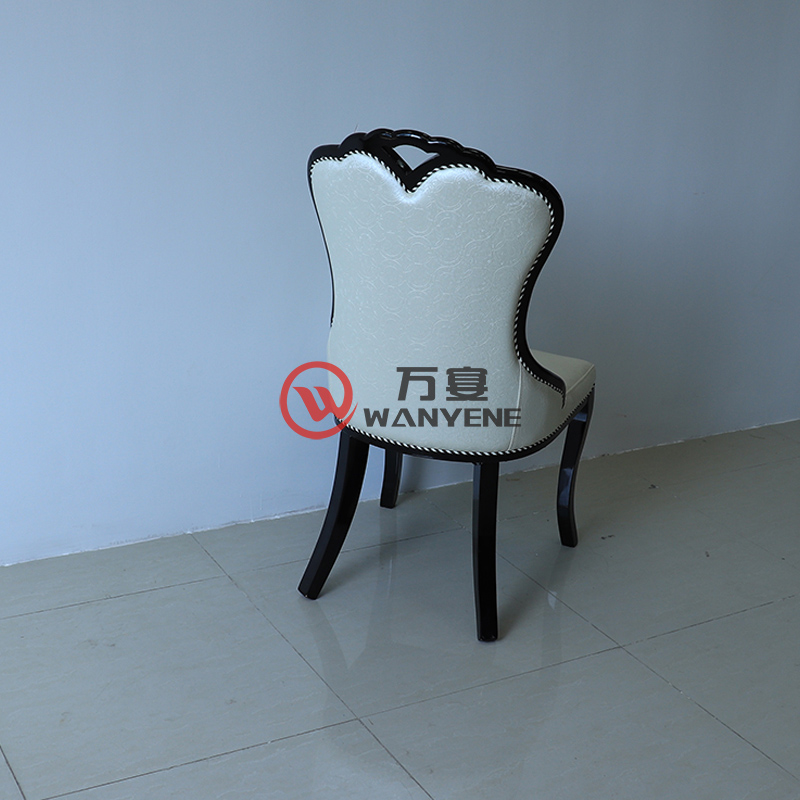 High-end fan-shaped dining chair with curved armrests Portable backrest White leather chair Hotel dining chair --The Product Image' style=