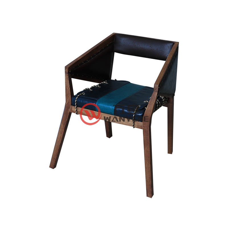 Antique solid wood theme industrial style solid wood dining chair pull line ligation leather seat cushion chair