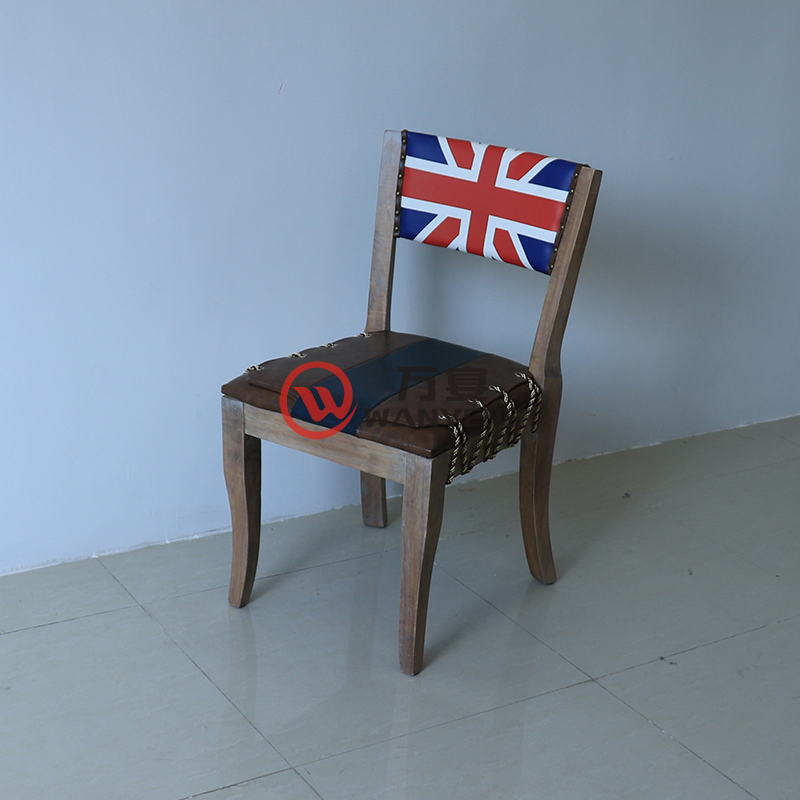 Solid wood British flag backrest chair Pull wire cushion Solid wood antique art dining chair Theme dining chair --The Product Image' style=