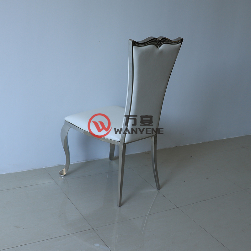 High-end European-style hardware chair Hotel lobby dining chair White leather soft upholstery Stainless steel fan-shaped backrest dining chair --The Product Image' style=