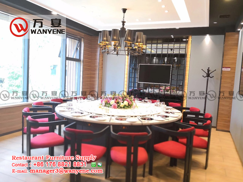 hot pot table and chairs at banquet room